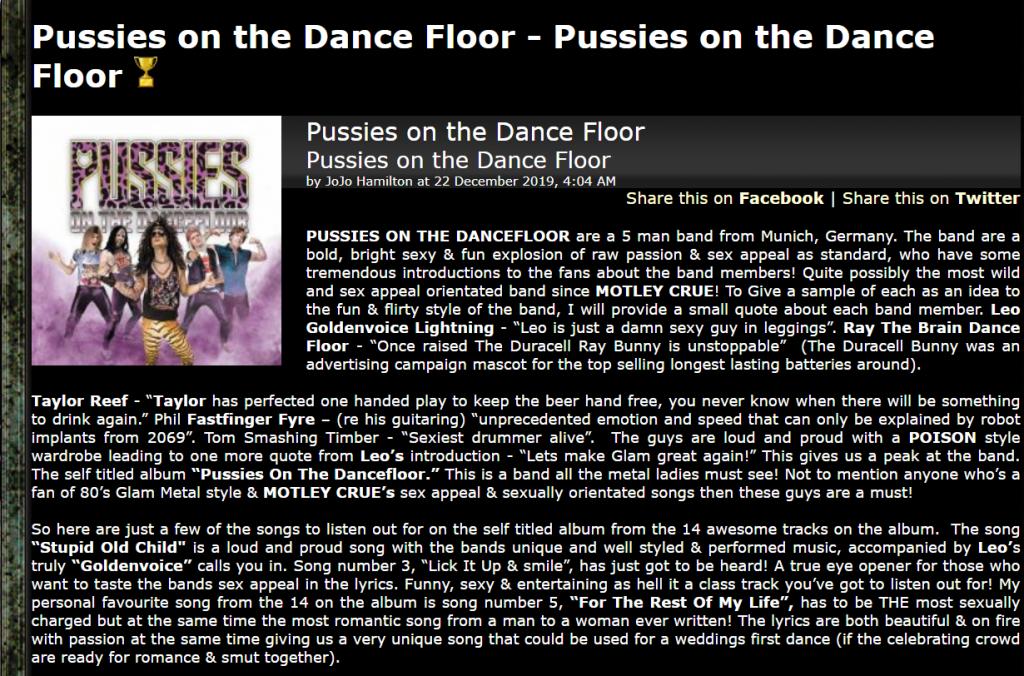 Pussies on the Dancefloor Album Review metal-tempel.com
